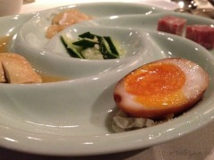 Duck egg was just one of the amuse vouches on this pretty platter.