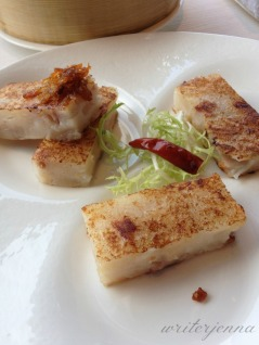 Turnip cakes are a staple of dim sum.