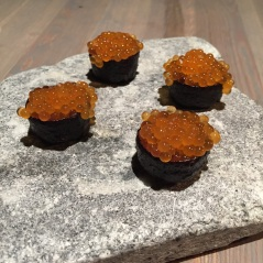 Wild trout roe in crust of dried pig's blood, Fäviken Magasinet, Sweden