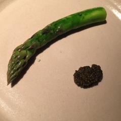 Steamed asparagus, cream and Finnish fish eggs, Fäviken Magasinet, Sweden