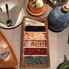 Wooden box with tar pastilles, meadowsweet candy, dried rowanberries, smoked caramel, sunflower seed nougat, dried black currants, Fäviken Magasinet, Sweden