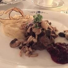 Braised wild boar with celeriac mash and Dutch mushrooms (Restaurant Greetje, Amsterdam)